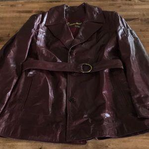 Vintage Etienne Aigner Burgundy Trench Coat Sz 16